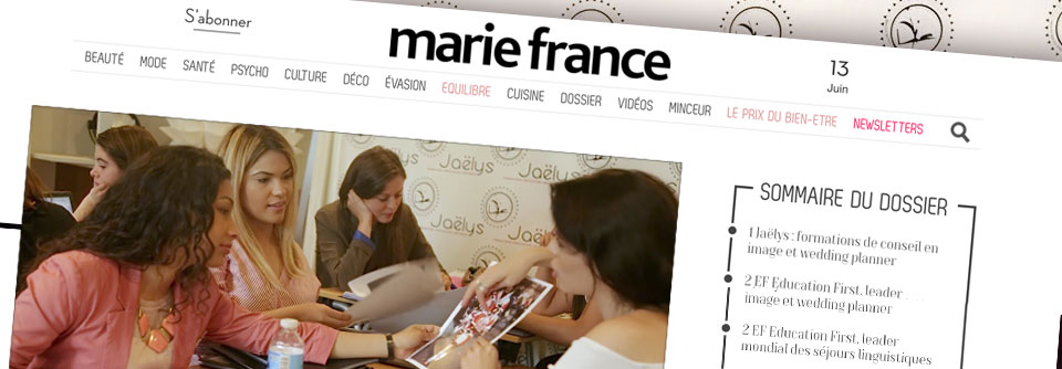 Interview par le magazine MARIE-FRANCE de l'école Jaelys